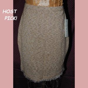 KATE HILL Petite Knit Skirt Metallic Fringe sz PM